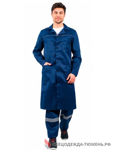 Халат мужской ИТР (тк.Смесовая,210), т.синий