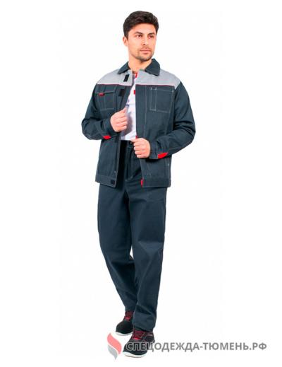 Костюм Флагман-Фаворит-1 (тк.Саржа,250) брюки, т.серый/серый