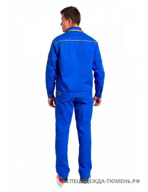Костюм Лидер (тк.Саржа,250) брюки, васильковый/желтый