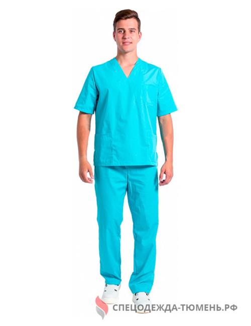 Костюм мужской хирурга (тк.ТиСи), бирюзовый