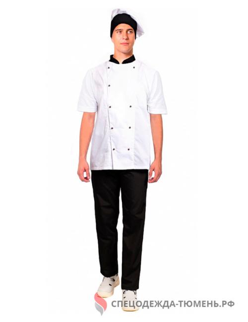 Костюм мужской повара с коротким рукавом Шоколад (тк.ТиСи), черный/белый