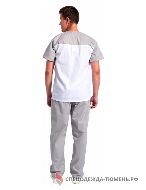 Костюм мужской Стоматолог (тк.ТиСи), серый/белый