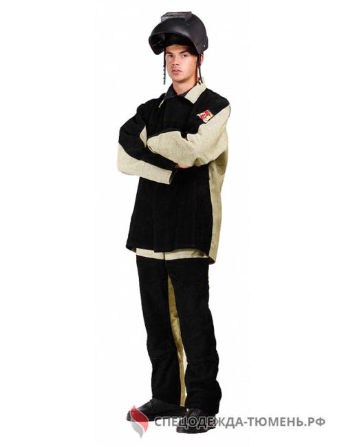 Костюм сварщика зимний комбинированный 3 кл.защиты (тк.Брезент,480/Спилок S=2,3), черный/бежевый