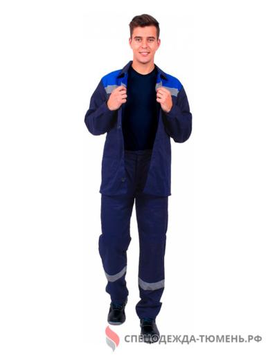Костюм Труженик СОП (тк.Смесовая,210) брюки, т.синий/васильковый