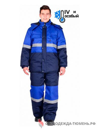 Костюм зимний Профи-Норд (тк.Марк,250) п/к, т.синий/васильковый