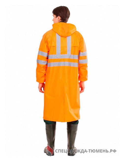 Плащ влагозащитный сигнальный СОП (Нейлон/ПВХ,180), оранжевый