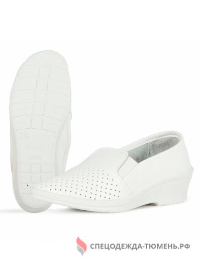 Туфли с перфорацией женские нат.кожа Аня ПВХ, белый
