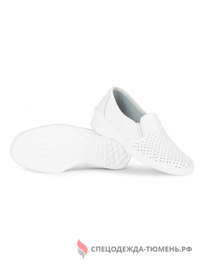 Туфли с перфорацией женские нат.кожа ПУ, белый