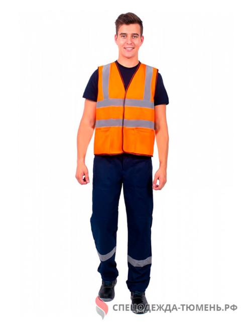 Жилет сигнальный Неон с карманами СОП-4 (тк.Полиэфир,130), оранжевый