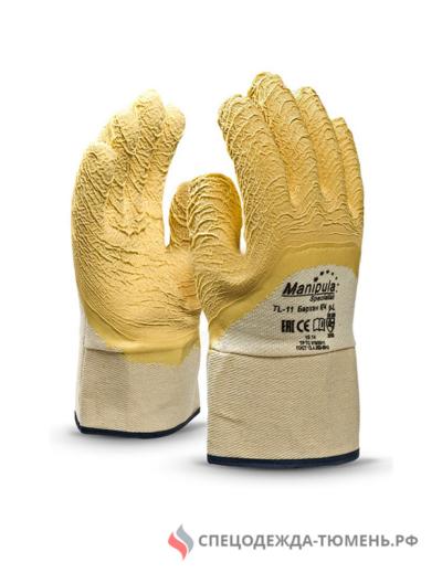 Перчатки Манипула Бархан КЧ (TL-11, хлопок+ребристый латекс)
