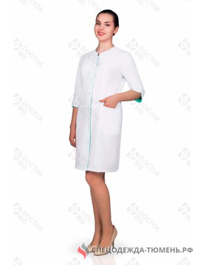 Халат женский №214 (тк.ТиСи) DoctorBIG, белый/голубой