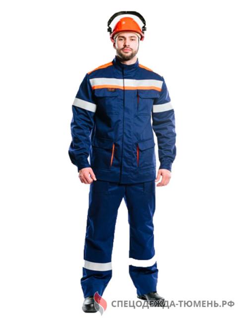 Костюм летний ДУГА-14k (СП011-ЛII), т.синий/оранжевый