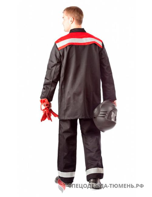 Костюм сварщика Премиум 2 кл.защиты (тк.100% хб,420), черный/красный