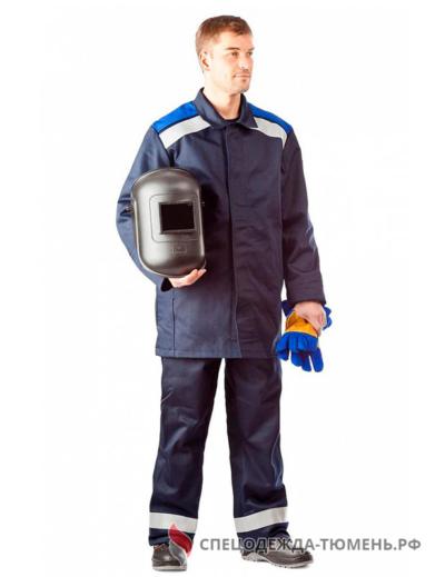 Костюм сварщика Премиум 2 кл.защиты (тк.100% хб,420), т.синий/васильковый