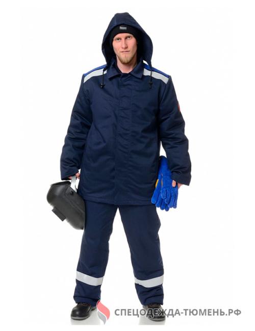 Костюм сварщика зимний Премиум 2 кл.защиты (тк.100% хб,420), т.синий/васильковый