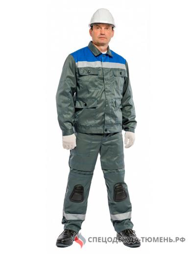 Костюм Защита со встроенными наколенниками (брюки) БиН, серый/васильковый