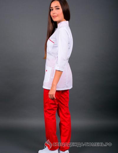 Костюм женский №415 (тк.ТиСи) DoctorBIG, белый/красный