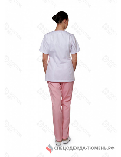 Костюм женский №434 (тк.Satory) DoctorBIG, белый/розовый/персиковый