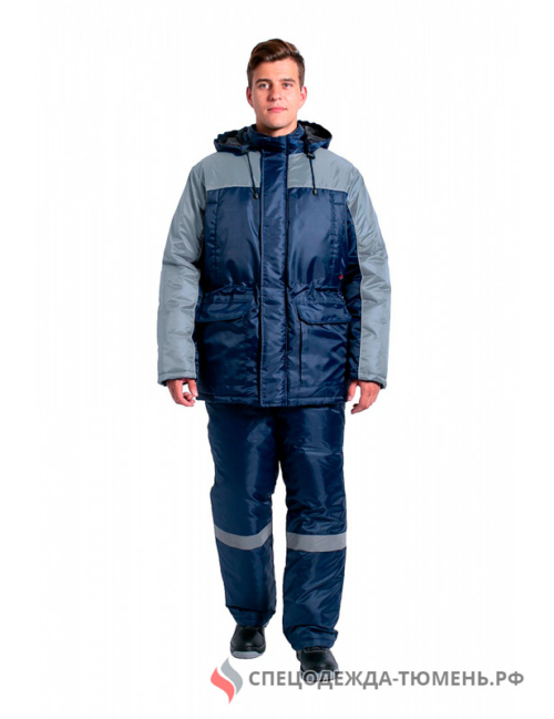 Куртка зимняя для инженера NEW, т.синий/серый