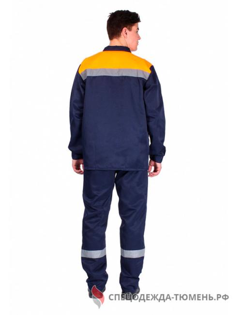 Костюм Труженик СОП (тк.Смесовая,210) брюки, т.синий/оранжевый