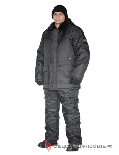 """Костюм зимний """"Охрана"""" куртка/полукомб. цвет: черный"""