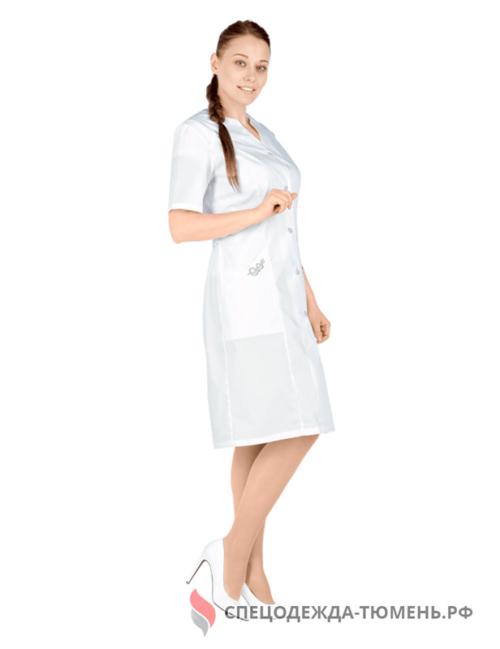 Халат медицинский ЮНОНА (Тиси, пл.120 г/м²), цв. белый