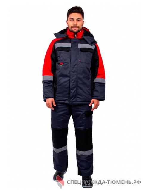 Костюм зимний Фаворит-Мега (тк.Протек, 240) п/к, черный/красный/серый