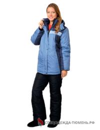 Куртка зимняя женская Фристайл (тк.Дюспо), т.синий/голубой