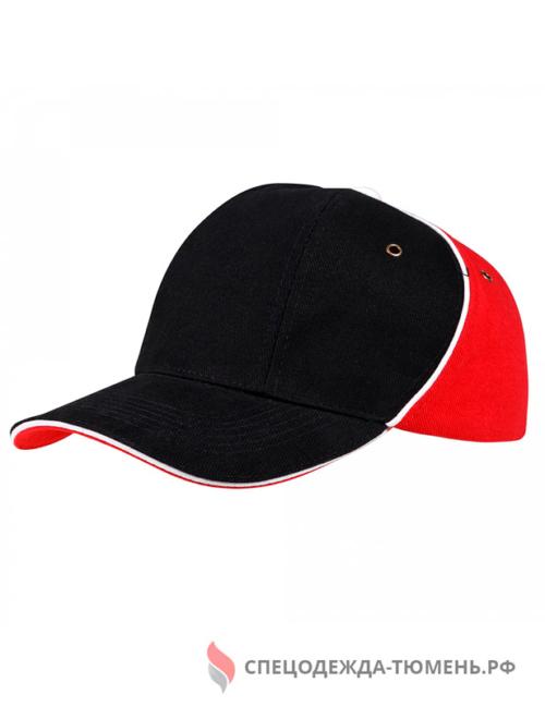Бейсболка Unit Smart, черный/красный