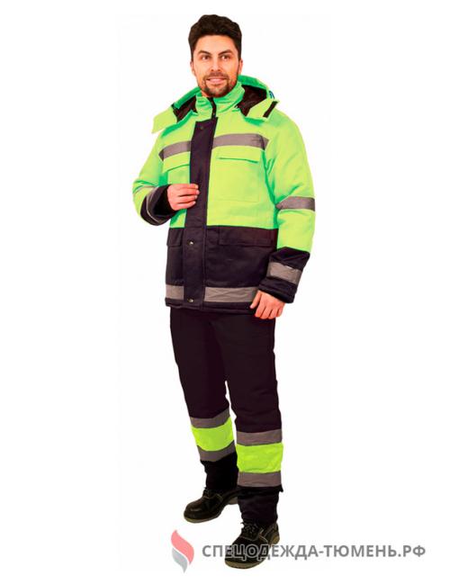 Костюм зимний Дорожник (тк.Смесовая,210) брюки, лимонный/черный