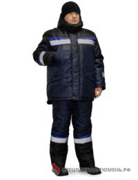 Костюм зимний Градус (полукомбинезон), цв.синий/черный/василек