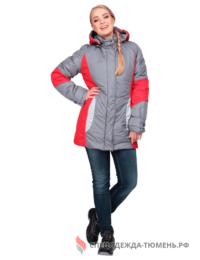 Куртка ВИРАЖ зимняя, серый-красный, женская