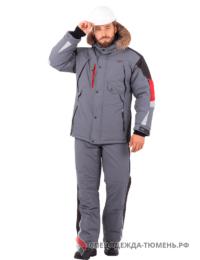 Куртка зимняя Хай-Тек, серый-черный-красный