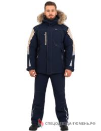 Куртка зимняя Хай-Тек, синий-бежевый
