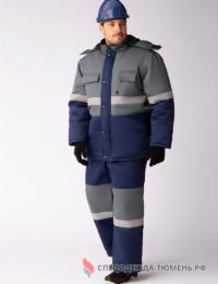 Костюм зимний Профи-Норд (тк.Смесовая,250) п/к, т.синий/серый