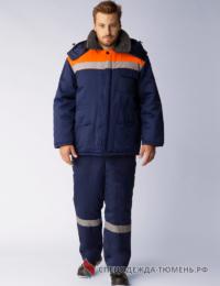 Костюм зимний Труженик-Ультра-2 (тк.Смесовая,210) п/к, т.синий/оранжевый