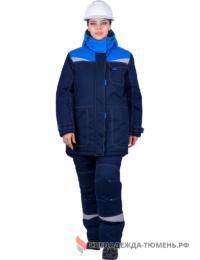 Костюм зимний женский КМ-10 Люкс, т.синий-васильковый